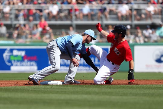 Boston Red Sox left fielder Andrew Benintendi slides safe into second base as he steals and Tampa Bay Rays shortstop Daniel Robertson misses the catch at JetBlue Park.