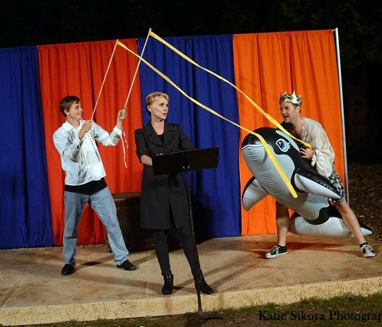 "Ryan Schabach, Angela Iannone and Whitney Derendinger perform ""The Complete Works of William Shakespeare (Abridged)"" for Door Shakespeare's 2012 season. A ""(Revised)"" version of the play was one of three production the company planned for its 25th anniversary season in 2020 which is now canceled because of the CVOD-19 pandemic."