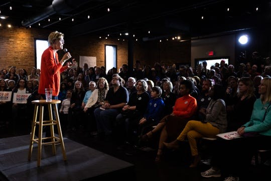 Senator Elizabeth Warren from Massachusetts, a 2020 presidential candidate, held a Get Out the Vote Canvass Kickoff event at the Rutherford in Greenville, Friday, February 28, 2020.