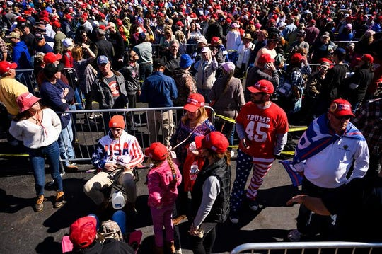 Supporters of President Donald Trump line up to attend his Feb. 28 rally in Charleston, South Carolina.