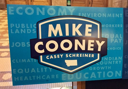 Signs show the teaming up of Casey Schreiner to Mike Cooney's gubernatorial campaign.