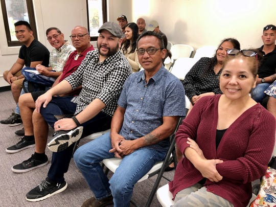Democrat candidates for Yona's special election for mayor are, from left, Ethan Camacho, Roque Eustaquio, Edward Terlaje, Cedric Diaz, Bill Quenga and Christina Perez, at the Feb. 28, 2020 meeting of the Guam Election Commission. The only Republican candidate is Franklin Hiton, not in photo.