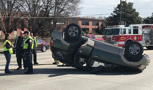 Henderson police said this Kia flipped after its driver ran a red light and struck another vehicle (Feb. 28, 2020).
