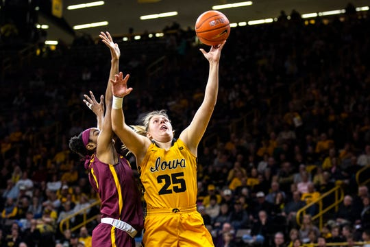Monika Czinano is averaging 16.1 points per game and shooting 69.9% from the floor, tops in the nation. The next-closest player in the Big Ten is shooting 58.2%.