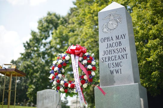The monument at the gravesite of Opha May Johnson, St. Paul's Rock Creek Cemetery, Washington, D.C., after its unveiling ceremony, Aug. 29, 2018. The monument was put up by the Women Marines Association to commemorate the 100 years of women serving in the Marine Corps.