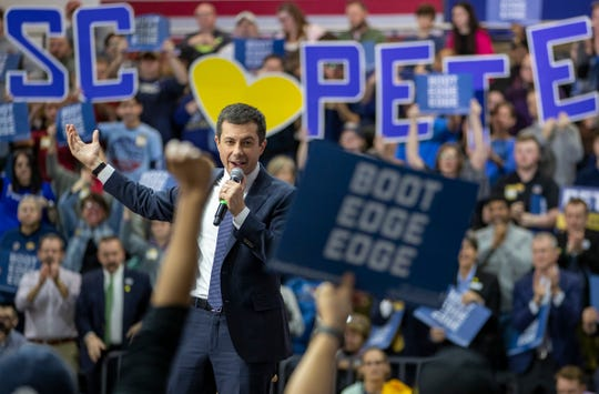 Pete Buttigieg talks Thursday with about 900 people at a campaign rally in Rock Hill, S.C., in advance of the state's Democratic primary on Saturday.