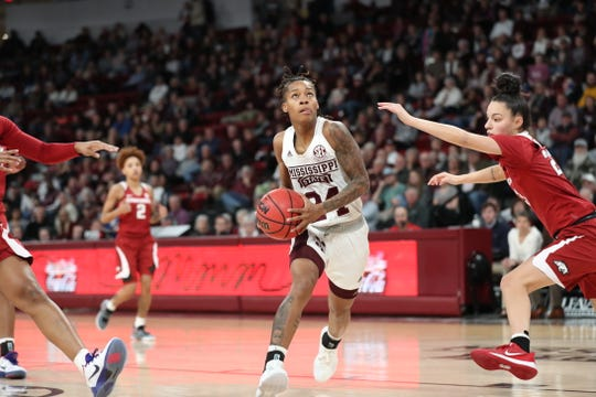 Mississippi State senior guard Jordan Danberry scored 19 points on her senior night to help the Bulldogs record a 92-83 win over Arkansas.