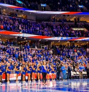 Miss Tennessee Volunteer Kerri Arnold sung the national anthem before the Memphis Tigers upset the No. 25 Houston Cougars on Feb. 22.