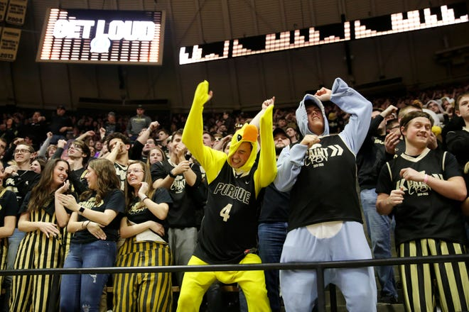 The Purdue student section reacts during the second half of a NCAA men's basketball game, Thursday, Feb. 27, 2020 at Mackey Arena in West Lafayette.