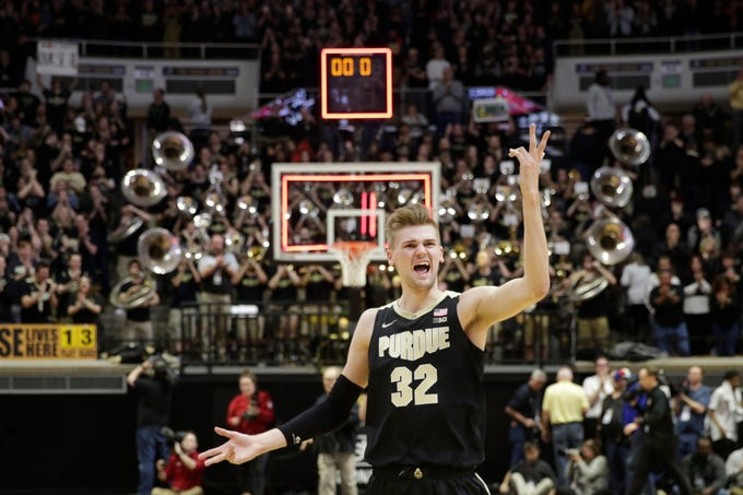 Purdue center Matt Haarms (32) reacts after Purdue defeated Indiana, 57-49, Thursday, Feb. 27, 2020 at Mackey Arena in West Lafayette.