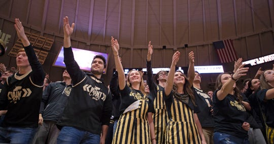 Feb 27, 2020; West Lafayette, Indiana, USA;  Purdue Boilermaker fans cheer on the Boilermakers during their game against the Indiana Hoosiers  at Mackey Arena. Mandatory Credit: Thomas J. Russo-USA TODAY Sports