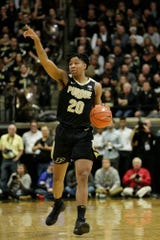 Purdue guard Nojel Eastern (20) motions while dribbling during the second half of a NCAA men's basketball game, Thursday, Feb. 27, 2020 at Mackey Arena in West Lafayette.