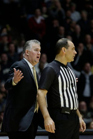 Purdue head coach Matt Painter reacts during the first half of a NCAA men's basketball game, Thursday, Feb. 27, 2020 at Mackey Arena in West Lafayette.