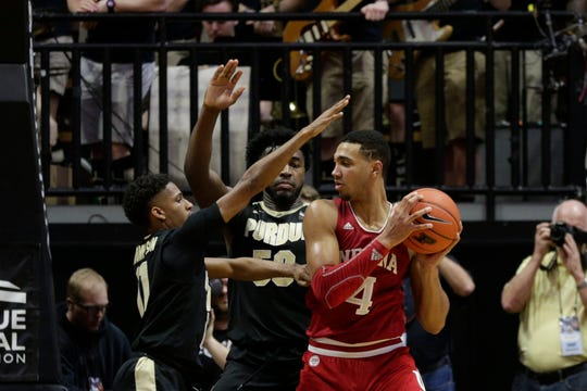 Purdue guard Isaiah Thompson (11) and Purdue forward Trevion Williams (50) guard Indiana forward Trayce Jackson-Davis (4) during the second half of a NCAA men's basketball game, Thursday, Feb. 27, 2020 at Mackey Arena in West Lafayette.