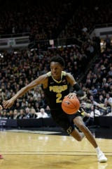 Purdue guard Eric Hunter Jr. (2) dribbles during the second half of a NCAA men's basketball game, Thursday, Feb. 27, 2020 at Mackey Arena in West Lafayette.
