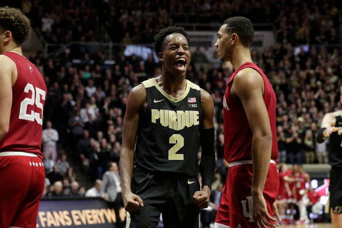 Purdue guard Eric Hunter Jr. (2) reacts during the second half of a NCAA men's basketball game, Thursday, Feb. 27, 2020 at Mackey Arena in West Lafayette.