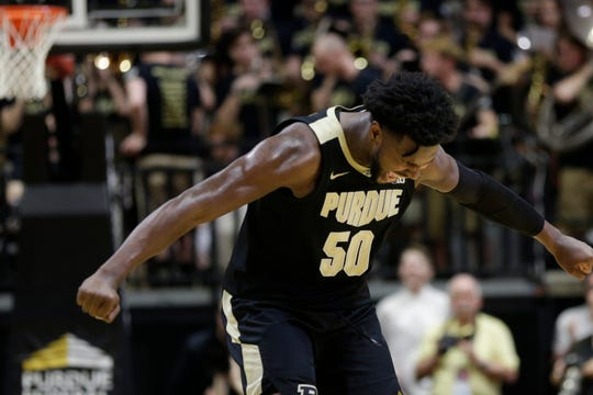 Purdue forward Trevion Williams (50) reacts during the first half of a NCAA men's basketball game, Thursday, Feb. 27, 2020 at Mackey Arena in West Lafayette.