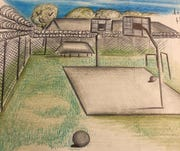 A drawing of a basketball court of the Richwood Correctional Center near Monroe, Louisiana.
