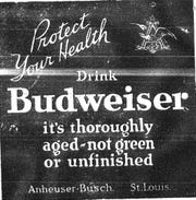 This Budweiser ad is from the July 19, 1923 Lancaster Daily Gazette.