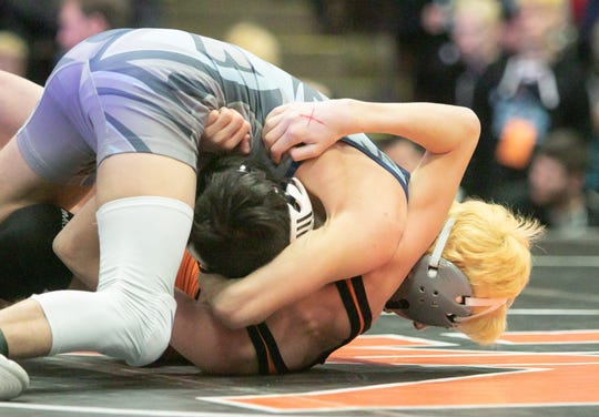 In the 112-pound class, Hunter Keller of Richmond pinned Kingsley's Trenton Wazny in quarterfinals Friday, Feb. 28, 2020.