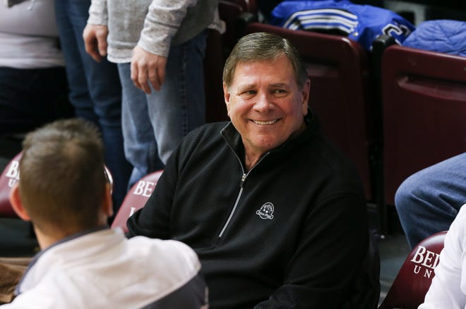 Former Louisville athletic director Tom Jurich attended a game at Knights Hall as Bellarmine played against Southern Indiana in Louisville, Ky. on Feb. 27, 2020.
