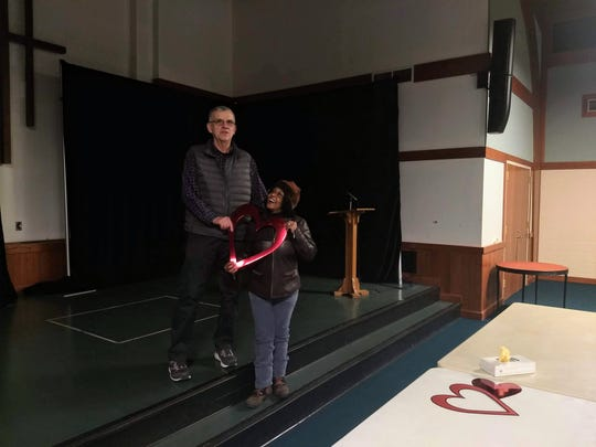 """LaShawn Erby and Zenon """"Kris"""" Wisniewski show off the stage at Edgewood United Church in East Lansing on Feb. 20, 2020."""