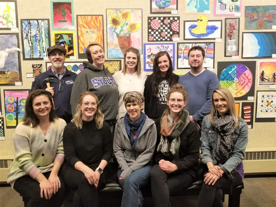 Manitowoc Public School District Art Department at the installation of the 2020 Youth Art Exhibit at Rahr-West Art Museum.