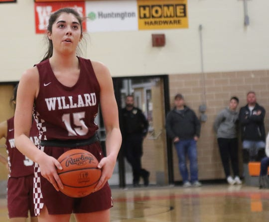 Willard' Cassie Crawford stares down a free throw attempt in the district semifinal against Shelby.
