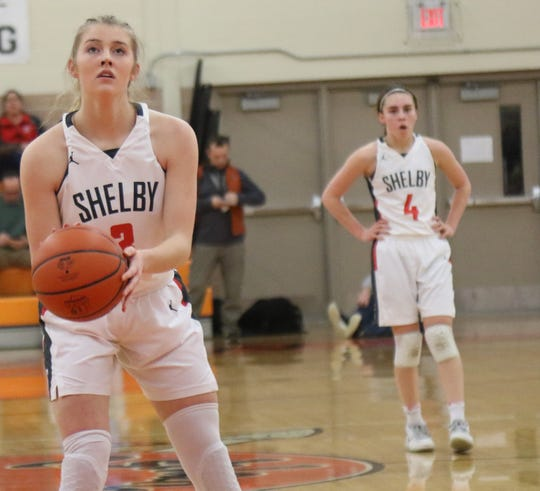 Shelby's Haylee Baker (front) and Sophie Niese (back) are a pair of juniors returning for the Lady Whippets in 2020-21.