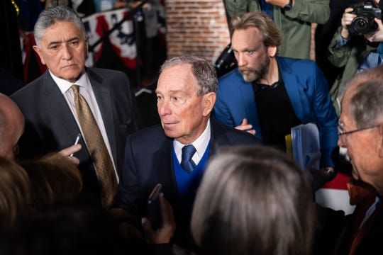 Mike Bloomberg speaks with supporters after a campaign speech in Minglewood Hall, Friday, Feb. 28, 2020, in Memphis, Tenn.
