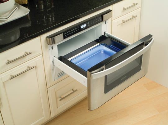 A Sharp microwave drawer.
