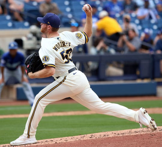 Brandon Woodruff allowed one run on three hits with no walks and two strikeouts during the Brewers' spring game against the Dodgers on Friday.