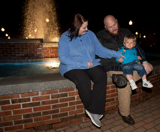 Ashley and David Thornton pose for a picture with their son, McCrae, 2, in Opelike, Ala., on Wednesday, Feb. 26, 2020. The Thorntons lost their 10-year-old daughter Taylor in the Beauregard tornado.