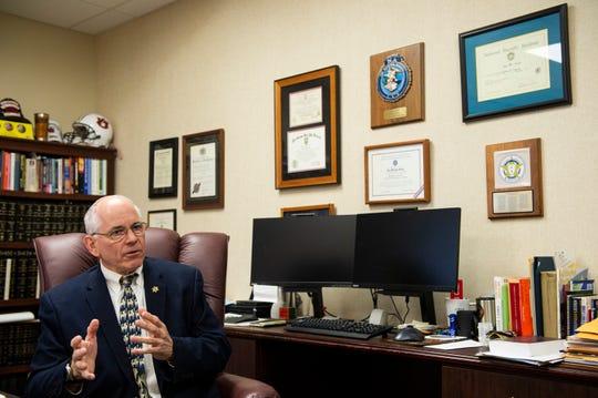 Lee County Sheriff Jay Jones talks in his office in Opelika, Ala., on Wednesday, Feb. 26, 2020.