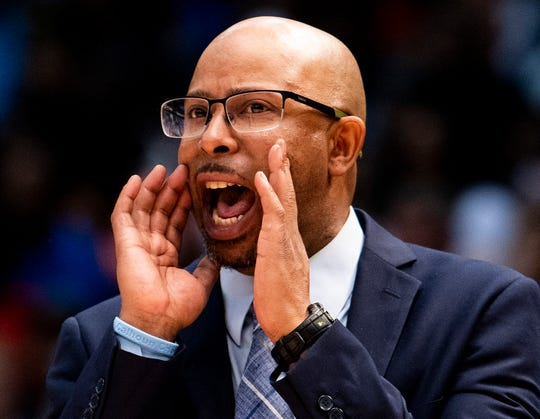 Calhoun coach Ervin Starr coaches against Barbour County in the AHSAA 2A boys basketball state championship game at Legacy Arena in Birmingham, Ala., on Friday February 28, 2020.