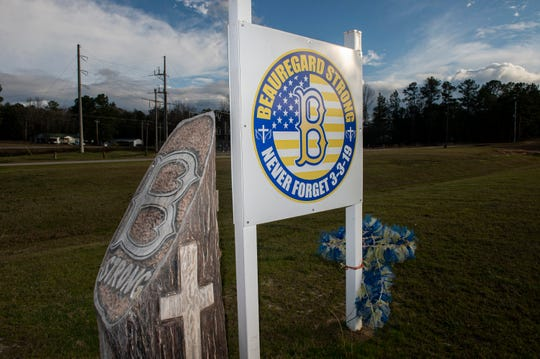 A memorial for the tornado victims at Providence Baptist Church in Beauregard, Ala., on Wednesday, Feb. 26, 2020. On March 3, 2019 an EF-4 tornado killed 23 people in Beauregard.