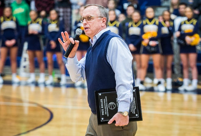 Delta honored former coach Paul Keller during halftime at Delta High School Thursday, Feb. 27, 2020.