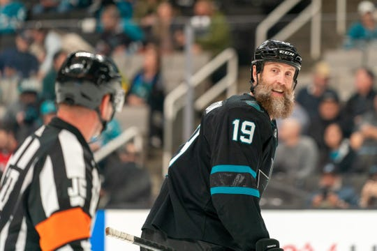 Feb 27, 2020; San Jose, California, USA;  San Jose Sharks center Joe Thornton (19) talks with the referee after the penalties during the second period against the New Jersey Devils at SAP Center at San Jose.