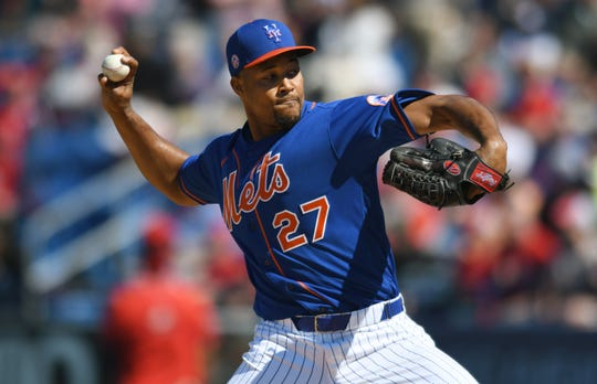 Feb 28, 2020; Port St. Lucie, Florida, USA;  New York Mets relief Jeurys Familia (27) pitches in the fourth inning against the St. Louis Cardinals at Clover Park.