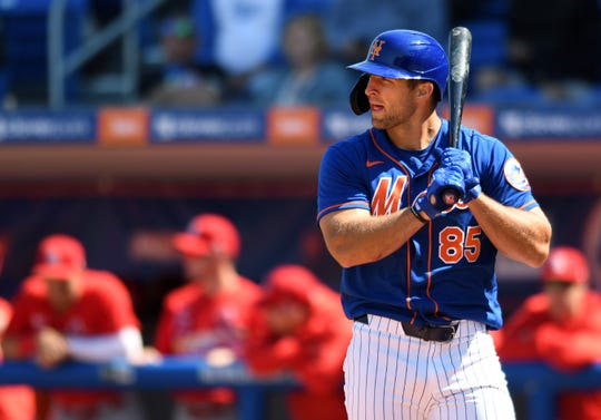 Feb 28, 2020; Port St. Lucie, Florida, USA; New York Mets outfielder Tim Tebow stands at the plate in the second inning against the St. Louis Cardinals at Clover Park.