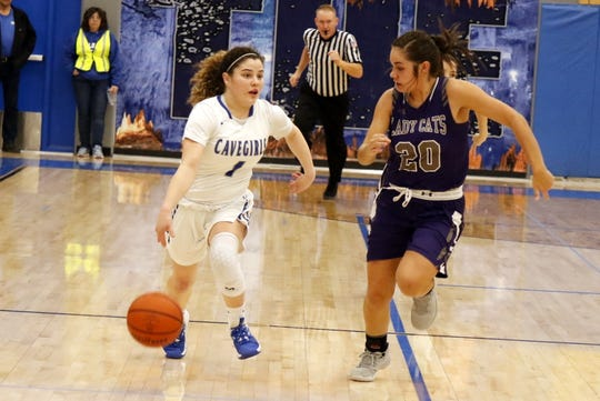 Carlsbad point guard Jerri Lynn McDonald races down the court for a fastbreak opportunity during Carlsbad's District 4-5A semifinal game against Clovis on Feb. 27, 2020. Carlsad won, 32-21 and will face Hobbs for the championship on Saturday.