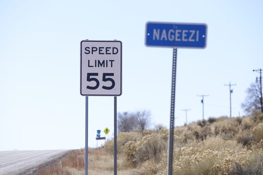 A new speed limit sign on U.S. Highway 550 in Nageezi is pictured on Feb. 27.