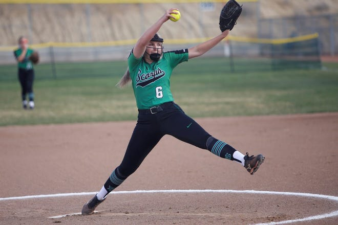 Farmington's Makayla Donald throws a strike against Piedra Vista during a District 2-5A softball game on Friday, April 12, 2019, at Farmington Sports Complex. Donald went 9-4 with a 3.07 ERA and 135 strikeouts in 2019.