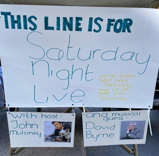 The sign signaling the start of the standby ticket line for Feb. 29's Saturday Night Live show.
