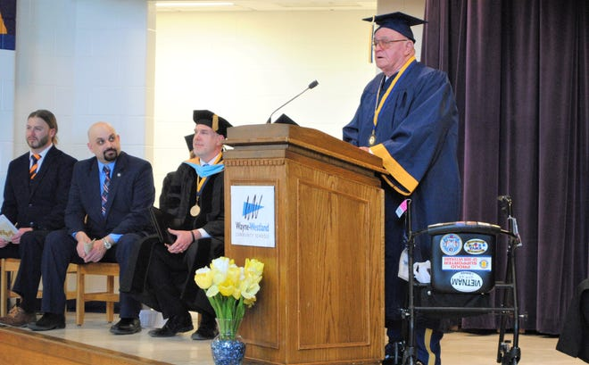 Veteran Avery Hall during his graduation ceremony at Taft Galloway Elementary on Feb. 28.