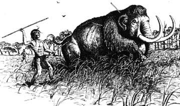 "Image from the publication ""Louisiana Prehistory"" that shows man from the Paleo Culture hunting an animal thousands of years ago."