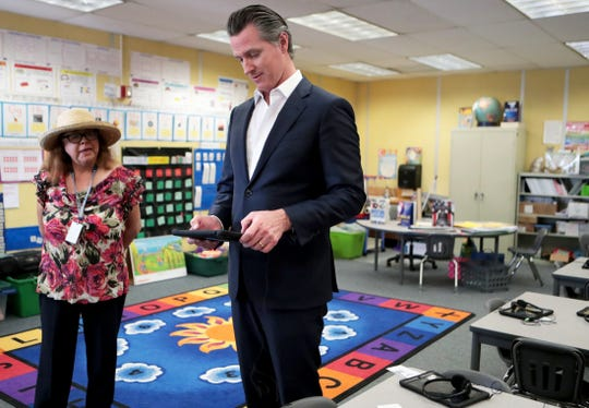 Governor Gavin Newsom tours Ms. Peres-Pena's transitional kindergarten classroom at Vista Del Monte Elementary School in Palm Springs, Calif., on February 28, 2020. Newsom visited the school to raise awareness and support for Proposition 13.