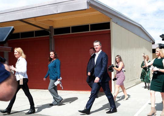 Gov. Gavin Newsom tours Vista Del Monte Elementary School in Palm Springs, Calif., on February 28, 2020 to raise awareness and support for Proposition 13.