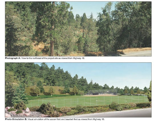 Renderings for the proposed church campus show a mixed-use sports field taking the place of a stand of trees.