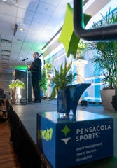UWF head football coach Pete Shinnick speaks during the Pensacola Sports Annual Awards Banquet in Pensacola on Thursday, Feb. 27, 2020.